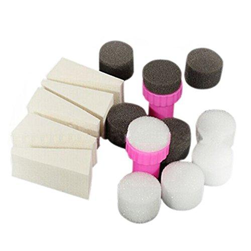 TOOGOO 1 ensemble 15pcs Tampons en eponge d'art d'ongle Tampons d'ongles Modele de transfert d'ombre de vernis a ongle Outil de manucure