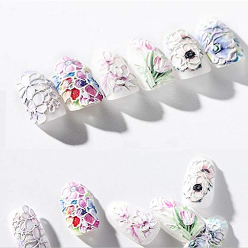 Mitlfuny -> Gesundheit und Schönheit -> Beauty Tools,1 Stücke 3D Gravierte Blume Acryl Nagelaufkleber Nail Sticker Geprägte Blume Wasser (Flat Eye Patch)