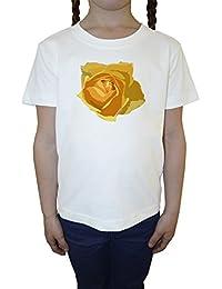Amarillo Rosa Blanco Algodón Niña Niños Camiseta Manga Corta Cuello Redondo Mangas White Girls Kids T-shirt