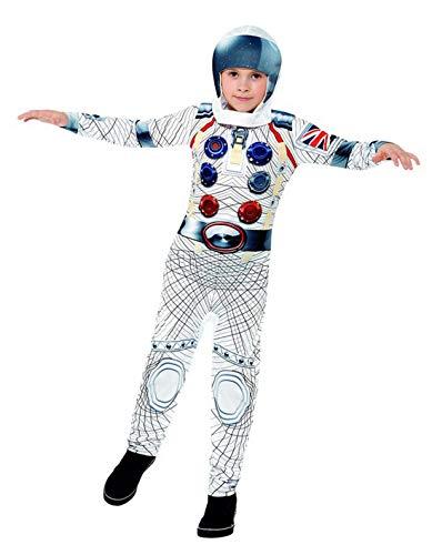 oy Kinder Weltraumfahrer Astronauten Kostüm Deluxe mit Einteiler Overall und Helm, perfekt für Karneval, Fasching und Fastnacht, 140-152, Weiß ()