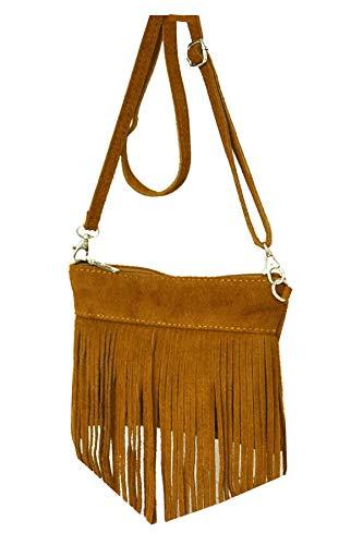 fashion-formel Damen Leder Tasche, Fransentasche, Schultertasche, Minibag, Umhängetasche Fransen echt. Wildleder, Italienische Handarbeit