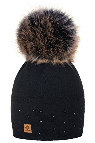 Wurm Winter Strickmütze Mütze Damen Kristalle Kiesel mit Große Bommel Pompon SKI MFAZ Morefaz Ltd (Black)