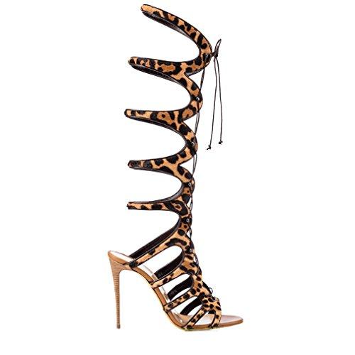 ENMAYER Femmes Open Toe Cover Heel Retour Zipper Fermeture Knee High Gladiator Bottes d'été Strap Design High Heel Punk Sandales Bottes Léopard
