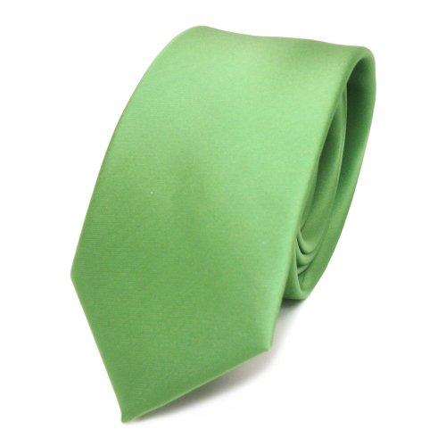 schmale TigerTie Satin Krawatte grün hellgrün gelbgrün uni - Binder Schlips Tie Polyester