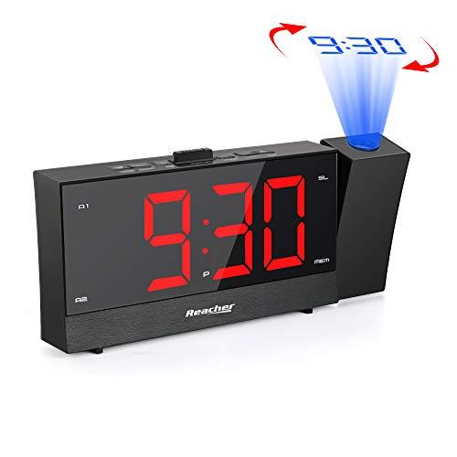 Projektionswecker, Reacher FM Radiowecker mit Dual USB-Ladeanschluss, Snooze, Full-Range-Helligkeit Dimmer, Dual-Alarm, 12/24-Stunden, Große Rote Ziffern, 5.5 Zoll LED Display, Netzbetrieben, Schwarz