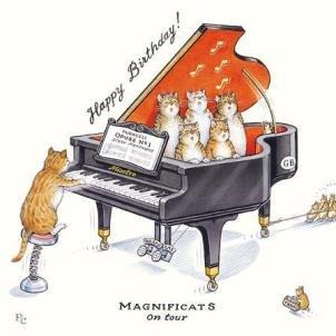 bebilderte blanko Karte-(gbcc0106)-magnificats auf Tour-aus der Serie Peter Kreuz-passend für Geburtstage und andere Anlässe (Cat Piano-meow)