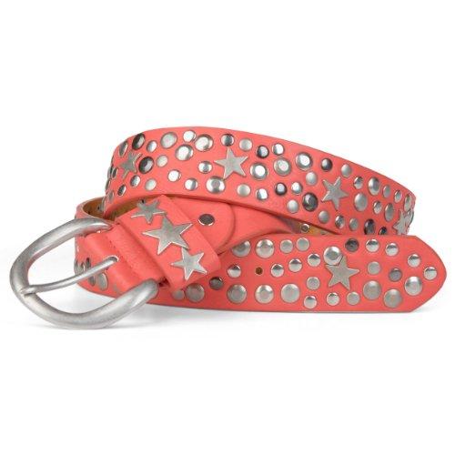 styleBREAKER Nieten Gürtel mit Sterne im Vintage Style mit echtem Leder / kürzbar 03010010 (95, Koralle) (Mädchen Schnalle)
