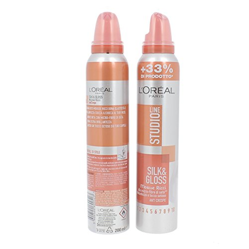 L'Oréal Paris Studio Line Silk&Gloss Mousse Mousse Ricci Fissaggio Iper Forte, 200 ml