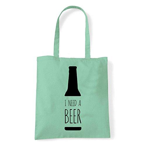 Art T-shirt, Borsa Shoulder Need Beer, Shopper, Mare Menta