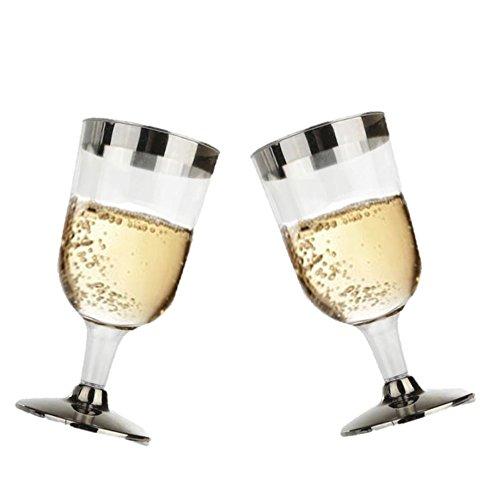 r Weingläser mit Silber Rand und Silber Boden. 7Unze Kapazität, Set 24Einweg Glas Drinkware. (Kunststoff Party Drinkware)