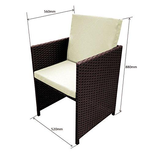 POLY RATTAN Essgruppe Rattan Set mit Glastisch Garnitur Gartenmöbel Sitzgruppe Lounge (8 Stühle, Braun) - 2