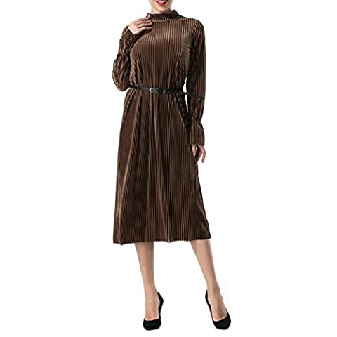 Reaso Femme Robe Elegant Manches Longues Vintage Casual Solide Loose Mode Col Rond Hiver Automne Swing Cocktail Party Robe (L, Marron)