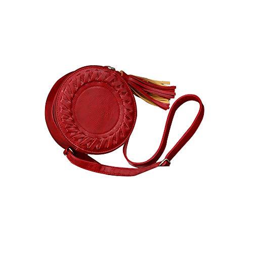 Produp Damenmode Handtasche Runde Lässige One-Shoulder-Einstellbare Geflochtene Quaste Kleine Runde Tasche