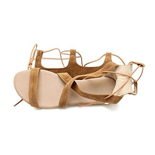 YOUJIA Femmes Hauteur Genou Lanières Flat Eté Gladiateur Bottes Romain Lacets Sandale #4 Jaune