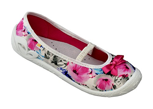 3f freedom for feet Mädchenschuhe mit Schleife Glitzern Atmungsaktiv Schuhe Freizeitschuhe Ballerinas mit Echtes Leder Einlegesohlen - Süß 5 Farben Größe 30-36 (34, Prima Rosa 4A1/18)