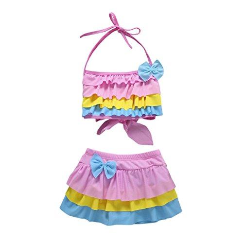QinMM 2 Stücke Infant Kinder Baby Mädchen Strap Bademode Badeanzug Bade Bikini Set Outfits Badeanzug Cartoon Crane Print Bikini Straps 12 Mt-3T (12M, Rosa) (Häkeln Stück Ein Badeanzüge)