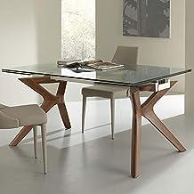 Amazon.es: mesa comedor extensible cristal y madera