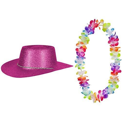2er Set - Cowboy Hut Fuchsia Pink Glitzer und Hawaii Kette Fasching Masken Perücke Maske Blumenkette Pastellfarben Sheriff Texas