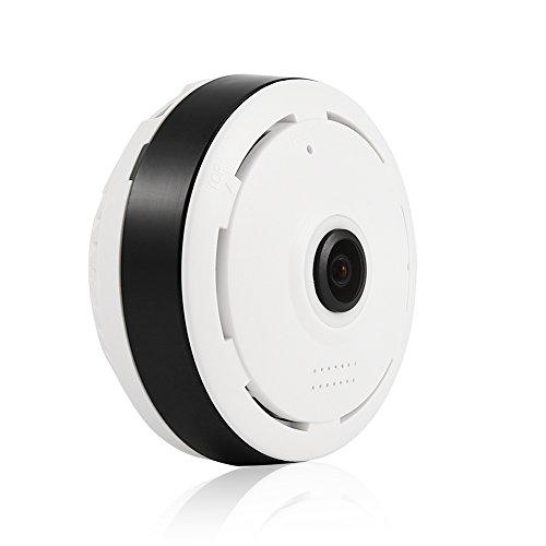 Fosa Überwachungskamera 960P HD 360 ° Panorama WiFi Wireless Haus Security Fisheye IP Kamera Nachtsicht Sicherheitskamera Außen Tür Wecam für iOS/Android/MAC-System(weiß)(weiß) Weiße Unterwasser System