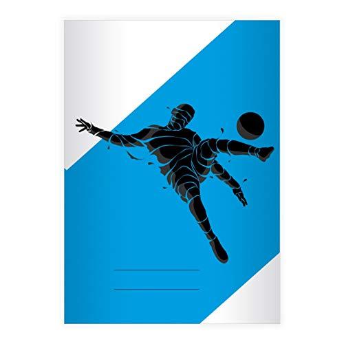 2 Stylische Fußball DIN A4 Schulhefte, Rechenhefte mit Soccer Fußballspieler, blau Lineatur 7 (kariertes Heft 16 Blatt/32 Seiten) Notizheft, Kladde für Schule, Universität, Büro
