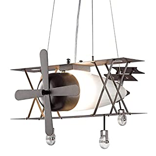 Iron Aircraft Ceiling Lighting, Ceiling Lamp for Children, Quality Iron Frame, Thickened Glass Shade, Non Toxic Cooking Coating, Valve