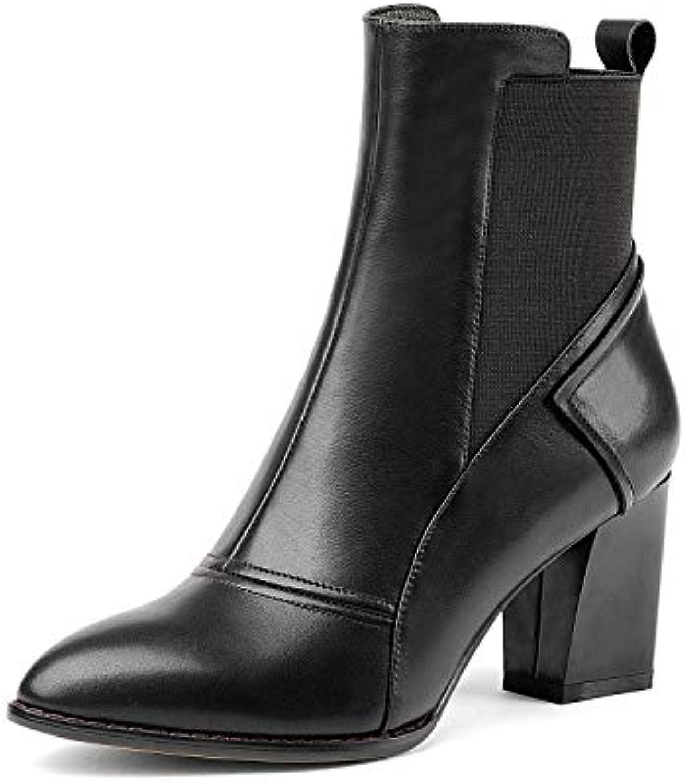 Yanyan Bottines pour Dames, Chaussures Pointues Pointues Chaussures en Cuir pour Dames Talons Hauts Rugueux Bande Élastique Couture...B07K7C644JParent a8fd04