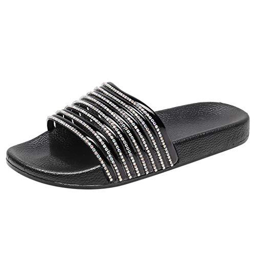 Pingtr - Damen Sandalen Pantoletten Hausschuhe,Damen Low Heel Crystal Bling Outdoor Flache Strand Sandalen Schuhe Hausschuhe Crystal Heels