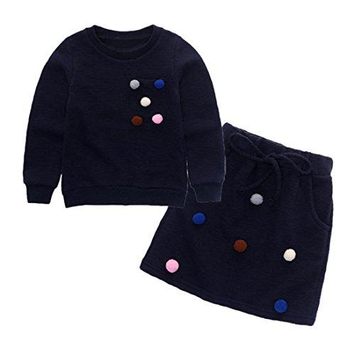 3-7 Jahr Kleinkind Kinder Kleidung Set, DoraMe Baby Mädchen Pom Pom Pullover Sweatshirt Tops + Rock Outfit (Marine, 3 Jahr) (Jacke-top-rock-hose)