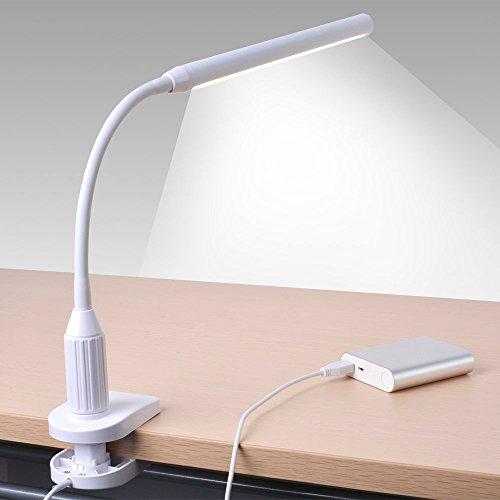 Sunix 6W 24 LED Klemmleuchte, Dimmbar Bettleuchte, LED Tischlampe, LED Leselicht USB-Kabel Inklusive, Touch-Steuerung, LED Leselampe für Schlafzimmer Büro (Klemme Steuerung)