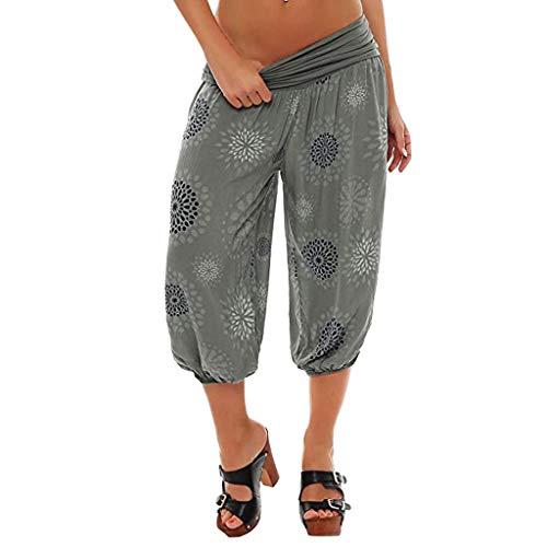 YueLove Damen Shorts Frauen Elastische Taille Boho Breites Bein Sommer Yoga Lockere Hose Hohe Taille Capris -