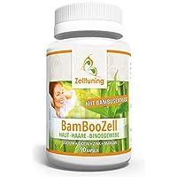BAMBOOZELL • Organisches Silicium/Silizium aus Bambus Extrakt mit Biotin • Zink • Mangan • Das GUTE für Haut • Haare • Nägel und Bindegewebe • Spezialverkapslung • Frei von Magnesium-stearat • VEGAN