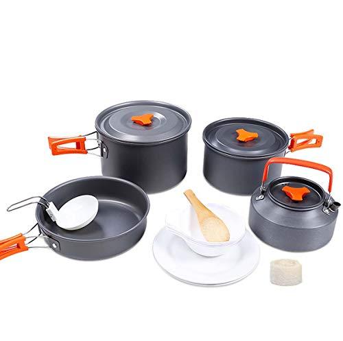 WYDML Kit de Cocina de Camping para 1-2 Persona, Ligero, Compacto y Plegable Backpacking Set de Cocina para Senderismo, Picnic y Camping, Botes de Aluminio y ollas de Camping Set