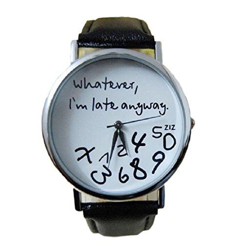 feitong-damenuhr-armbanduhr-quarzuhr-elegant-schwarz-pu-leder-uhr-neu-whatever-i-am-late-anyway