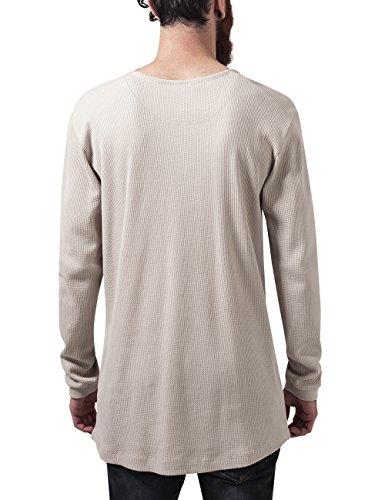 Urban Classics Herren T-Shirt Long Shaped Waffle L/S Tee Elfenbein (sand