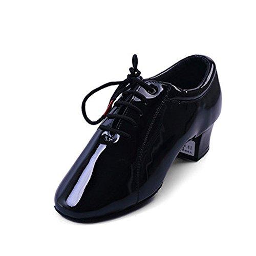 Dance Shoes Herren 's Erwachsene Patent Größe 24,5cm-27.0cm Höhe 5cm schwarz weich Latein Schuhe, 54