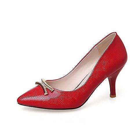 1TO9 Ladies Pull-On Kitten-Heels Mule Red Polyurethane Pumps Shoes 1 UK