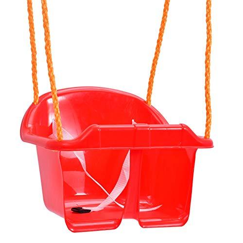 ote Kinder, Innen- und Plastikhängesessel im Freien, Baby-Kleinkind-Schaukel des niedrigen Rückens, PET-Seilschaukel Red ()