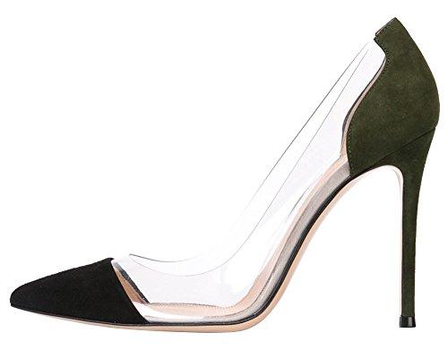 Guoar - Scarpe chiuse Donna (A-Grün Samt)