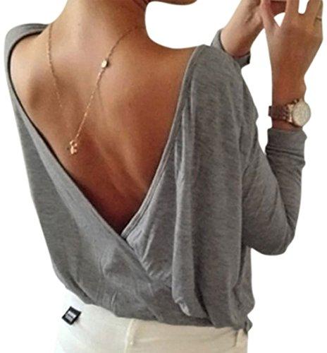 Zum Shop · Minetom Sommer Damen Tops Oberteil Bluse Party Pullover Frühjahr  Rundhals Langarm Bluse Rückenfrei Loose T Shirt 30d9685825