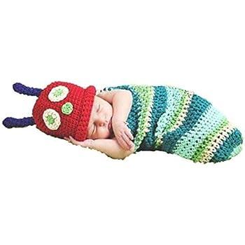 aspetto elegante vendita calda genuina davvero comodo Caterpillar, Newborn Baby Girl/Boy Crochet Knit Costume Photo Photography  Prop Hats Outfits