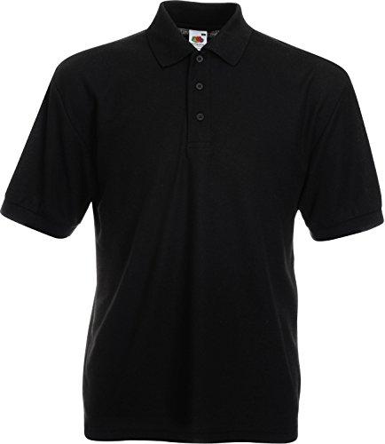 Fruit of the Loom Piqué Poloshirt aus Mischgewebe 63-402-0,Farbe:Black;Größe:L (3-knopf-kragen-shirt)