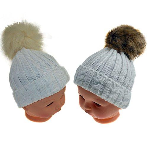 Super Cute Kabel Knit Weiß Flauschig braun und Creme Fell Pom Pom Hat -