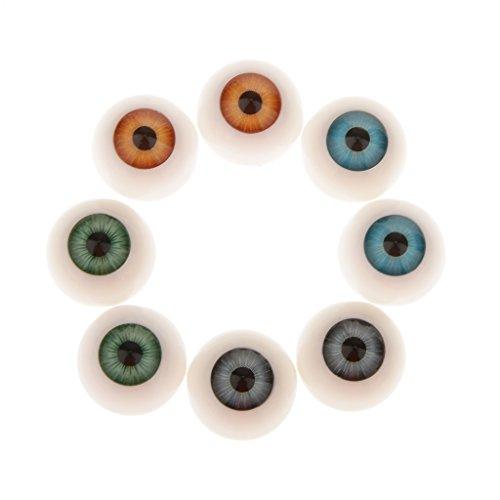8 Piezas 20mm Media Caña Hueca Ojos Acrílico Oculares