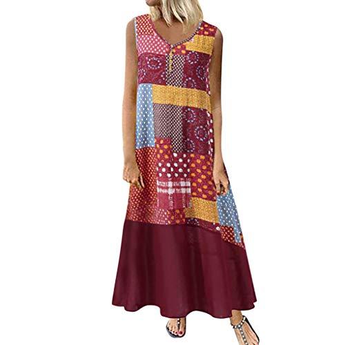 Tohole Damen Strandkleider Türkischer Stil Boho Lose Tunika Lange Sommerkleider Shirt Strandhemd Kleid Urlaub Vintage unregelmäßiges Kleid(rot-M,S)