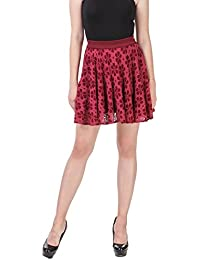 TEXCO Burgendy Lace Flared Skirt