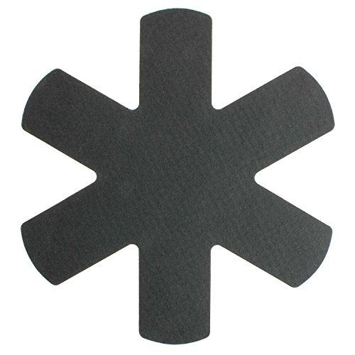 MACOSA HOME Pfannen-Schutz Set Filz und Kunststoff / WASCHBAR UND LEBENSMITTELECHT ! 3er oder 6er Set. Universal-Größe 38 cm. Zuschneidbar. Extra weich, Anti-Rutsch-Rückseite / Pfannen-Schutz, Pfannen-Schoner, Stapelhilfe, Schutz vor Kratzern, Pfannen-Einleger (Anthrazit 3er Set) (Teller Keramik Kerzen)