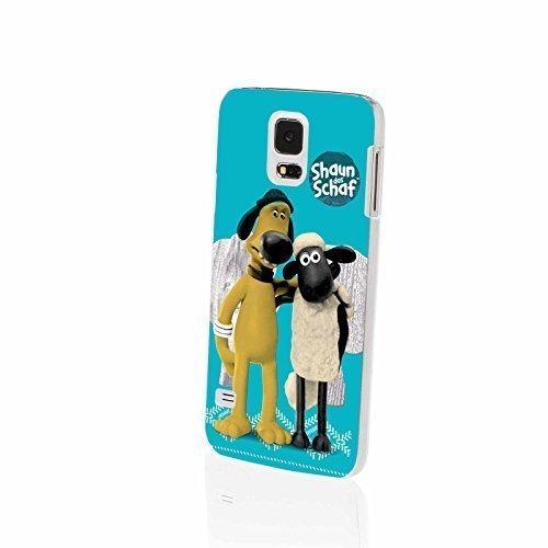 FINOO  komptaibel mit/Ersatz für Handyhülle Samsung Galaxy S5 Hardcase Handy-Hülle | Transparente Hart-Back Cover Schale mit Motiv Muster | Shaun das Schaf Bitzer und Shaun