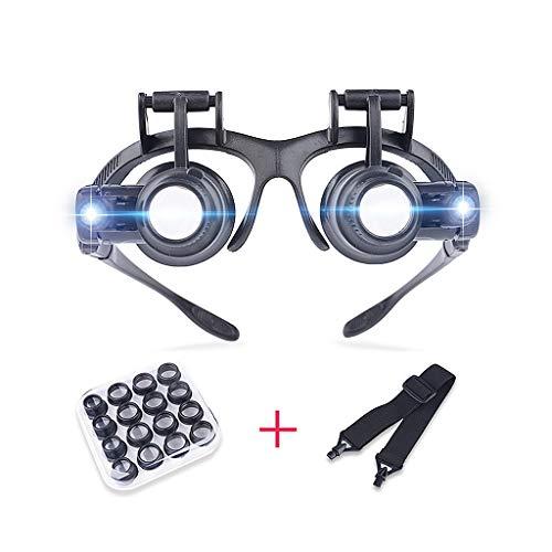 Lupe mit 2 LED-Leuchten, Lupe mit leichten Hands Free Schmuckuhr Reparatur-Lupe und 8 Wechselobjektiv 2.5X 4X 6X 8X 10X 15X 20X 25X ()