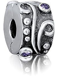 "Andante-Stones 925 Sterling Silber Clip Stopper Bead ""Antique"" mit Zirkonia - Element Kugel für European Beads Modul Armband + Organzasäckchen"