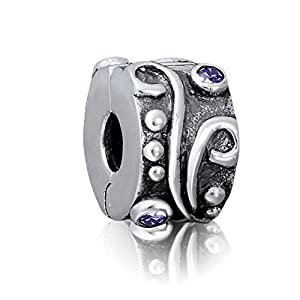 "Andante-Stones 925 Sterling Silber Clip Stopper Bead ""Antique"" mit Zirkonia – Element Kugel für European Beads Modul Armband + Organzasäckchen"